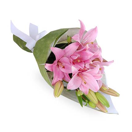 Stunning Pink Asiatic Lilies Bouquet: