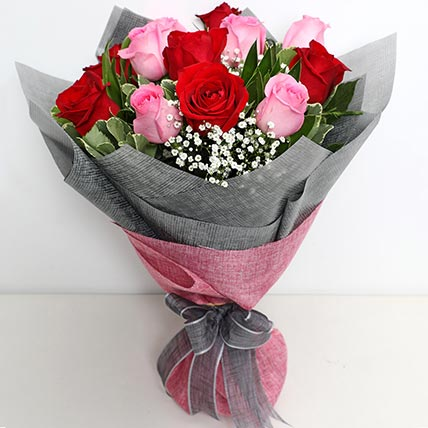 6 Pink And 6 Red Roses Bunch: Flower Shop in Bahrain