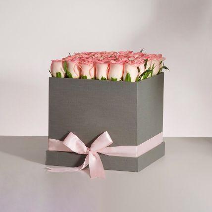 Premium Pink Roses Box Arrangement: Kuwait Flowers