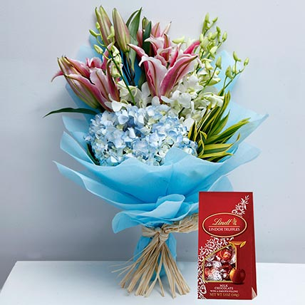 Delicate Flowers and Lindt Chocolate Combo: Flowers & Chocolates