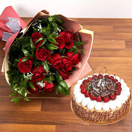 Dozen Roses with Blackforest Cake: New Year Flowers & Cakes
