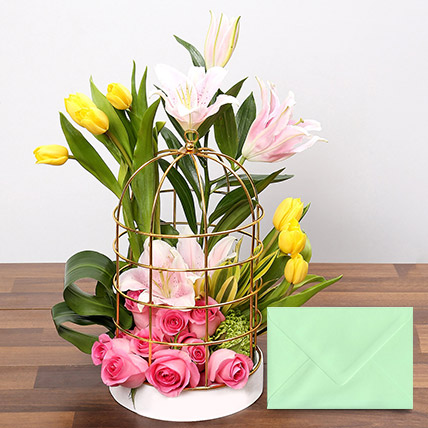 Floral Cage Arrangement With Greeting Card: Friendship Day Cards