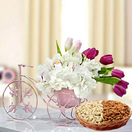 Floral Cycle Arrangement and Dry Fruits Combo: Flowers & Dry Fruits
