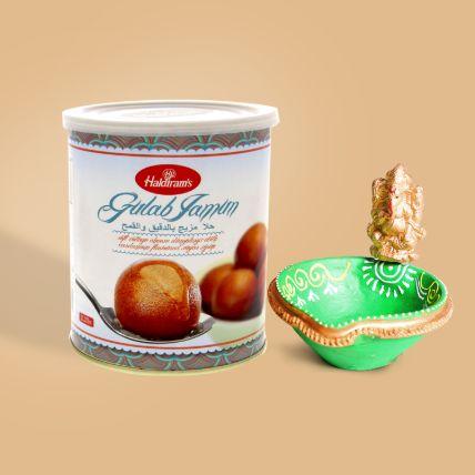 Gulab Jamun and Ganesha Diya Combo: Diwali Diyas for Sale