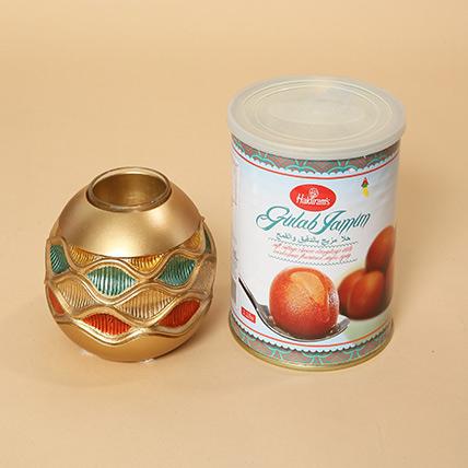 Gulab Jamun and Golden Diya Combo: Diwali Diyas for Sale