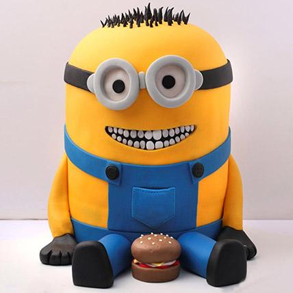 Lovable Minion With A Burger Cake 3 Kg: Minion Birthday Cakes