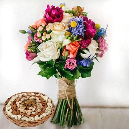 Mixed Roses Bouquet and Dry Fruits Combo: Birthday Flowers & Dry Fruits