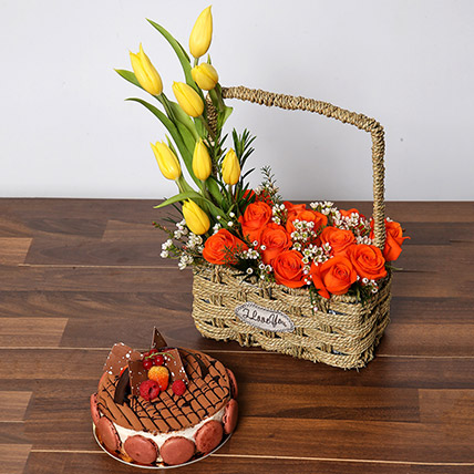 Orange Roses and Yellow Tulips Basket With Cake: