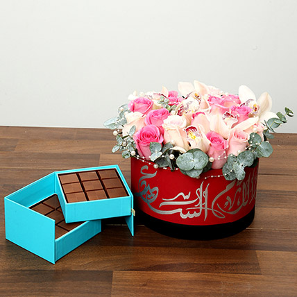 Pearl Decorated Roses and Chocolates Combo: Flowers & Chocolates for Mothers Day