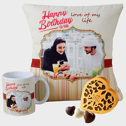 Personalised Cushion Mug and Godiva Chocolates: