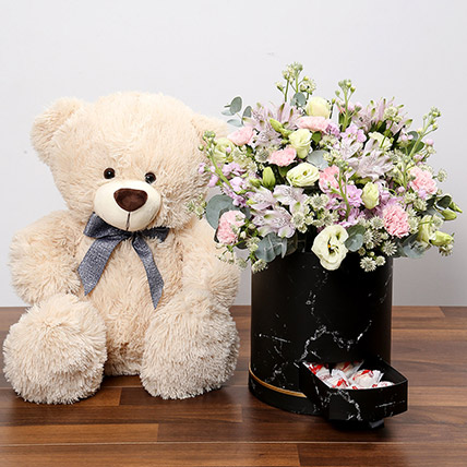 Pink and White Floral Box With Chocolates and Teddy: Flowers & Teddy Bears