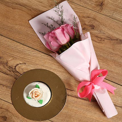 Pink Roses Bouquet and Mono Cake Combo: Gift Ideas for Girls