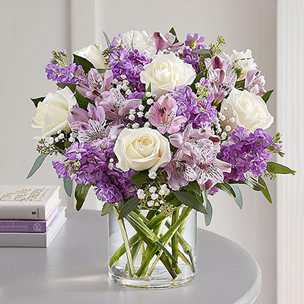 Purple and White Floral Bunch In Glass Vase: Luxury Flowers Dubai