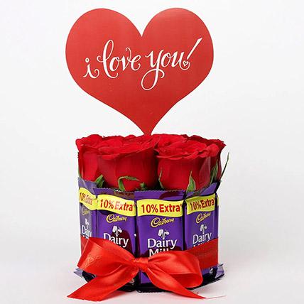 Red Roses Dairy Milk Arrangement: Karwa Chauth Gift to Wife