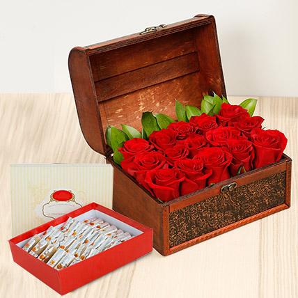 Red Roses Treasured Box With Kaju Roll: Ramadan Flowers & Sweets