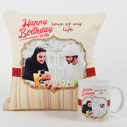 Romantic Personalized Mug N Cushion:  Gifts Delivery