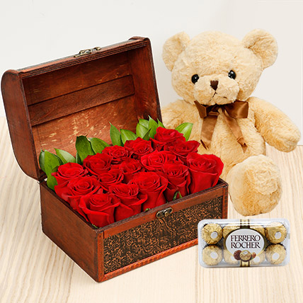 Treasure Hunt Combo: Flowers & Teddy Bears for Mothers Day