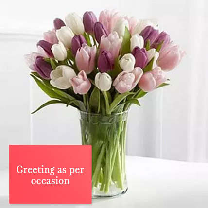 Tulips Vase Arrangement With Greeting Card: Wedding Flowers & Greeting Cards