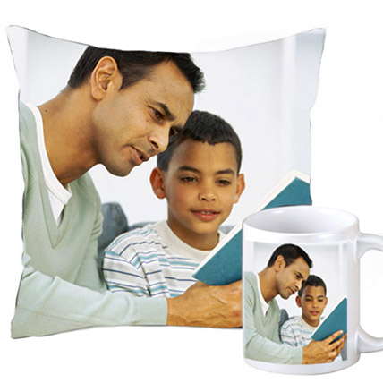 Cuddly personalized cushion and coffee mug: