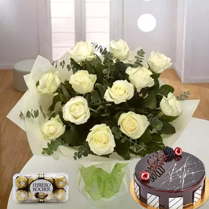 Pure Love Combo: Cake and Flower Delivery in Dubai