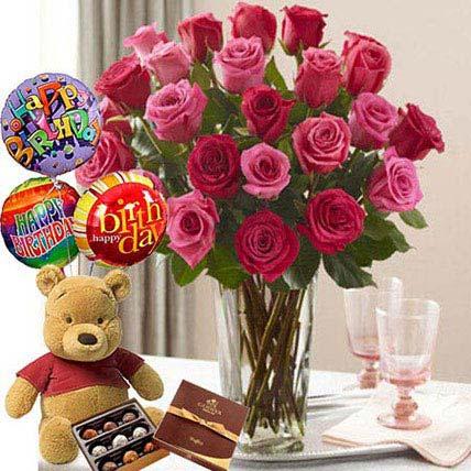 Birthday Bash Combo: Roses & Teddies