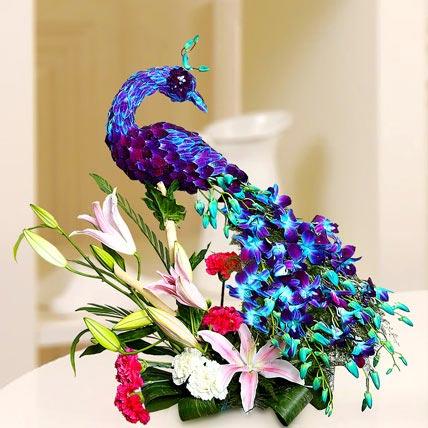 Floral Peacock Charm: Luxury Flowers Dubai