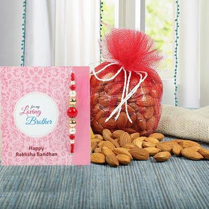 Almonds N Blue Zardosi Rakhi: Pearl Rakhi