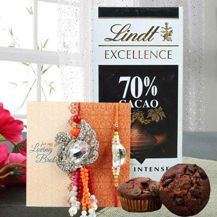 Luxurious chocolate combo: Rudraksha Rakhi