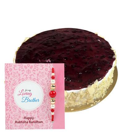 Eggless Blueberry White with Rakhi: Rakhi With Cakes