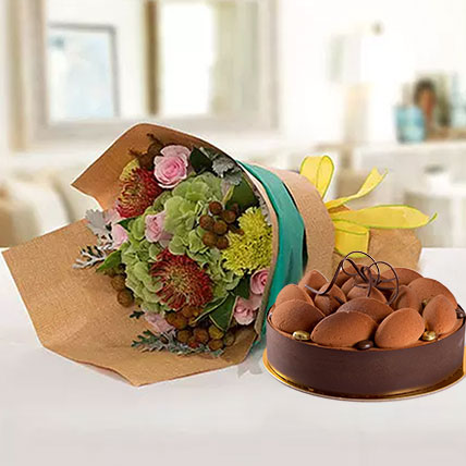 Delightful Flower Bouquet With Tiramisu Cake: Cake and Flower Delivery in Dubai