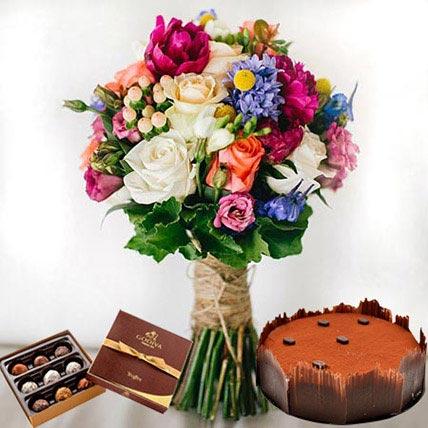 Lavish Combo: Anniversary Flowers & Chocolates
