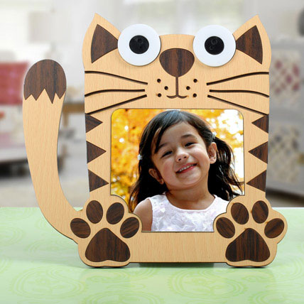 Cat Shaped Personalized Frame: Birthday Gifts for Kids