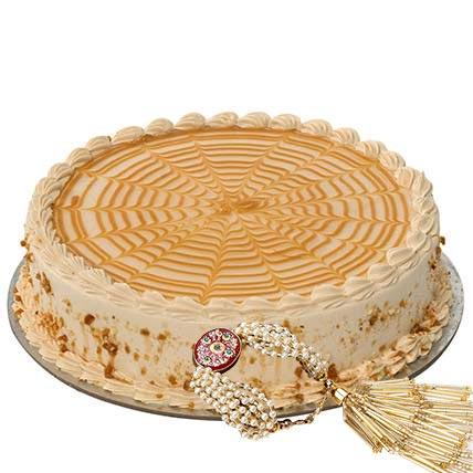 500gms Butturscotch Cake with Rakhi: Rakhi With Cakes