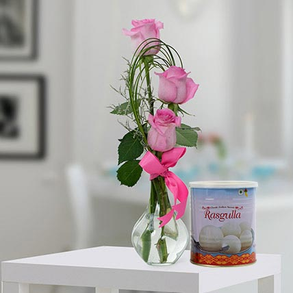 Pink Roses Arrangement and Rasgulla Combo: Eid Flowers & Sweets