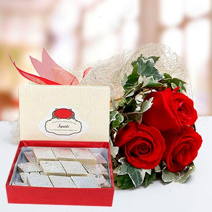 Red Roses Bouquet and Kaju Katli Combo: Dubai Sweets