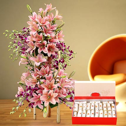 Appealing Flowers Arrangement and Kaju Roll Combo: Eid Flowers & Sweets