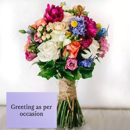 Mixed Roses Bouquet With Greeting Card: Anniversary Flowers & Greeting Cards