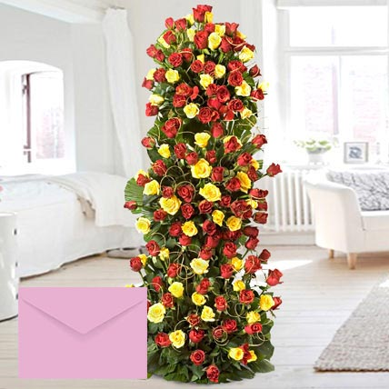 Luxurious Red and Yellow Roses Arrangement: Anniversary Flowers & Greeting Cards