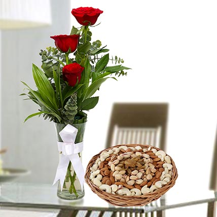 Red Roses Vase Arrangement and Dry Fruits Combo: Anniversary Flowers & Dry Fruits