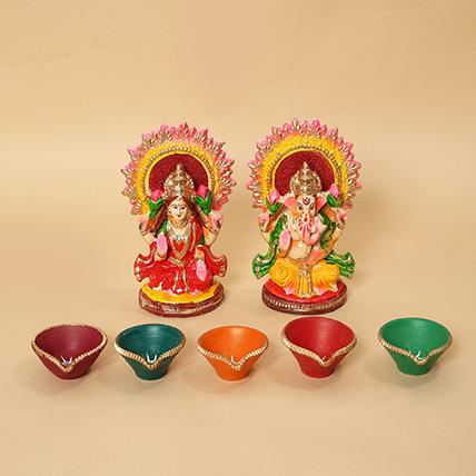Lakshmi Ganesha Idols and Diyas Combo: Diwali Diyas for Sale