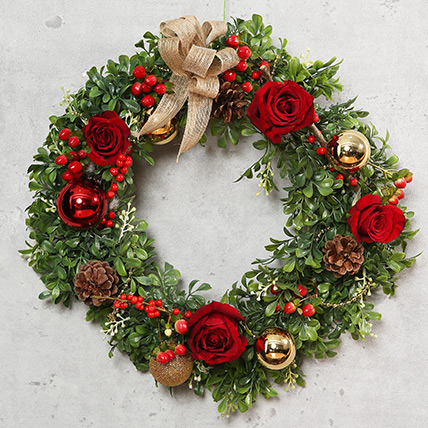 Green and Red Christmas Wreath: