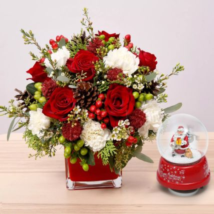 Flower Arrangement With Santa Masterpiece: Christmas Flowers