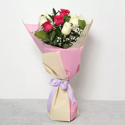 Pink and White Roses Bouquet: Flower Delivery Mothers Day