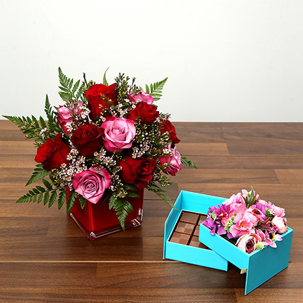 Red and Pink Roses With Belgium Chocolates: Valentine Gifts to Ras Al Khaimah