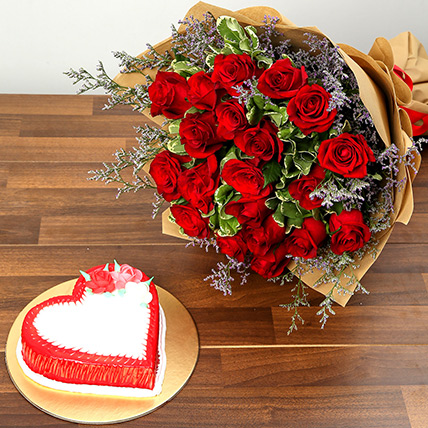 Red Roses and Vanilla Cake Combo: Valentine Day Flowers to Al Ain