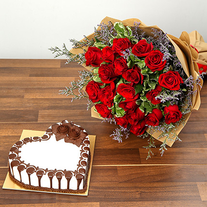 Rose Bouquet and Chocolate Cake Combo: Valentine Day Roses