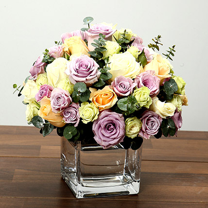 Mixed Rose Arrangement In Glass Vase: Sorry Flowers
