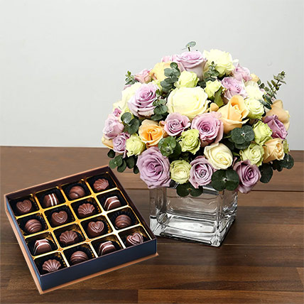 Purple and White Roses Array With Belgian Chocolates: Flowers and Chocolate Delivery