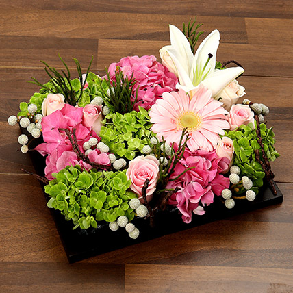 Mixed Floral Arrangement in Brown Tray: