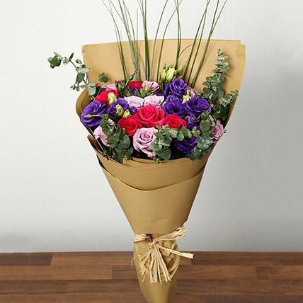 Purple and Pink Roses Bouquet: Congratulations Flower Bouquet